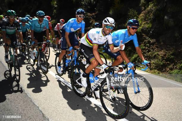 Alejandro Valverde Belmonte of Spain and Movistar Team / Andrey Amador of Costa Rica and Movistar Team / Carlos Verona of Spain and Movistar Team /...