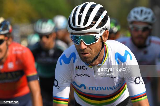 Alejandro Valverde Belmonte of Spain and Movistar Team / during the 98th Tre Valli Varesine 2018 a 197km race from Saronno to Varese on October 9...