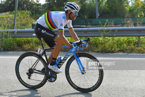 Alejandro Valverde Belmonte of Spain and Movistar Team / during the 98th Tre Valli Varesine 2018 a 197km race from Saronno to Varese on October 9,...