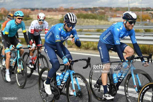 Alejandro Valverde Belmonte of Spain and Movistar Team / Jose Joaquin Rojas Gil of Spain and Movistar Team / during the 75th Tour of Spain 2020,...