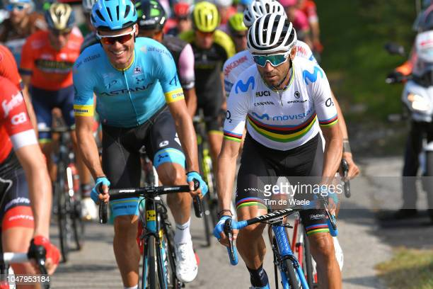 Alejandro Valverde Belmonte of Spain and Movistar Team / Luis Leon Sanchez Gil of Spain and Astana Pro Team / during the 98th Tre Valli Varesine 2018...