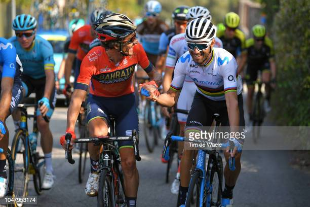 Alejandro Valverde Belmonte of Spain and Movistar Team / Manuele Boaro of Italy and Bahrain Merida Pro Cycling Team /during the 98th Tre Valli...