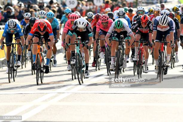 Alejandro Valverde Belmonte of Spain and Movistar Team, Matej Mohoric of Slovenia and Team Bahrain Victorious, Dion Smith of New Zealand and Team...