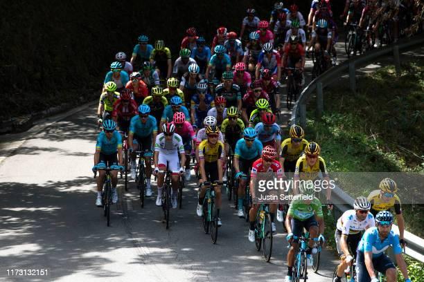 Alejandro Valverde Belmonte of Spain and Movistar Team / Nairo Quintana of Colombia and Movistar Team Green Points Jersey / Primoz Roglic of Slovenia...