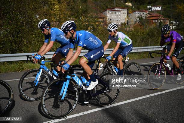 Alejandro Valverde Belmonte of Spain and Movistar Team / Nelson Oliveira of Portugal and Movistar Team / Enric Mas Nicolau of Spain and Movistar Team...