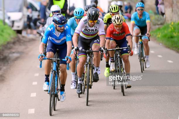 Alejandro Valverde Belmonte of Spain and Movistar Team / Peter Sagan of Slovakia and Team BoraHansgrohe / during the 53rd Amstel Gold Race 2018 a...