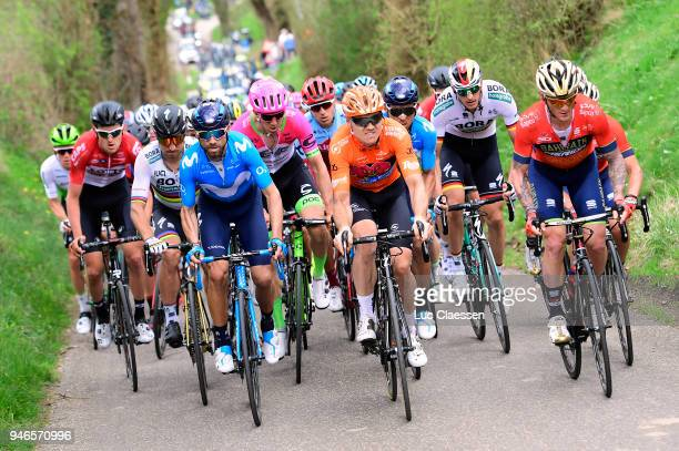 Alejandro Valverde Belmonte of Spain and Movistar Team / Peter Sagan of Slovakia and Team BoraHansgrohe / Oscar Riesebeek of The Netherlands and Team...