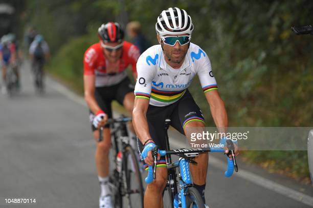 Alejandro Valverde Belmonte of Spain and Movistar Team / Tim Wellens of Belgium and Team Lotto - Soudal / during the 99th Milano - Torino 2018 a...