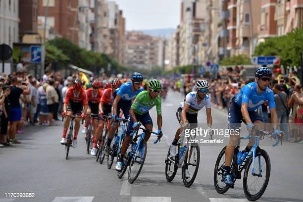 Alejandro Valverde Belmonte of Spain and Movistar Team World Champion Jersey / Nairo Quintana of Colombia and Movistar Team Green Points Jersey /...