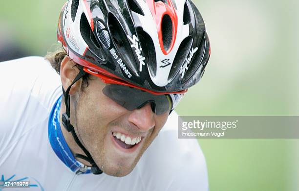 Alejandro Valverde Belmonte of Spain from the Iles Balears Team in action during the first stage time trial of the 2006 edition of the Tour de...
