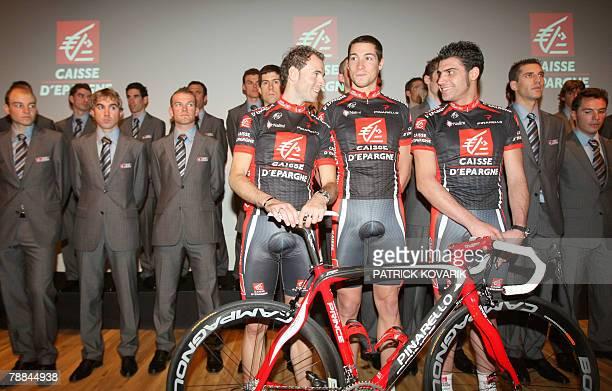 Alejandro Valverde Nicolas Portal Oscar Pereiro and team members of the French bank Caisse d'Epargne cycling team pose 09 January 2008 in Paris...
