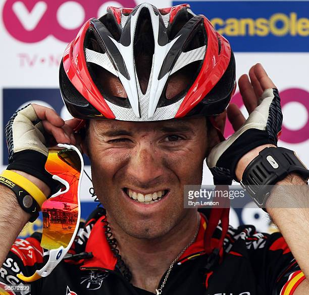 Alejandro Valverde of Spain and Caisse D'Epargne relaxes after finishing 3rd in the 96th LiègeBastogneLiège race on April 25 2010 in Liege Belgium
