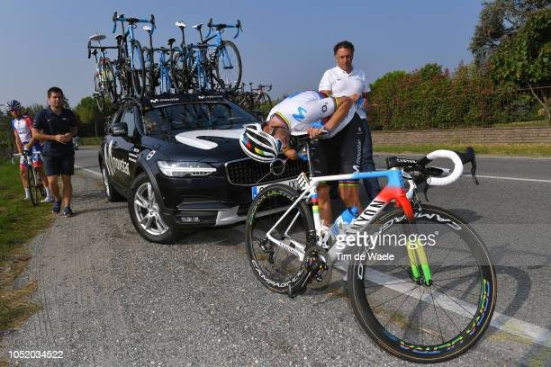 Alejandro Valverde of Spain and Movistar Team / Canyon World Champion Bike / Mechanical Problem / Car / Mechanic / during the 112th Il Lombardia 2018...