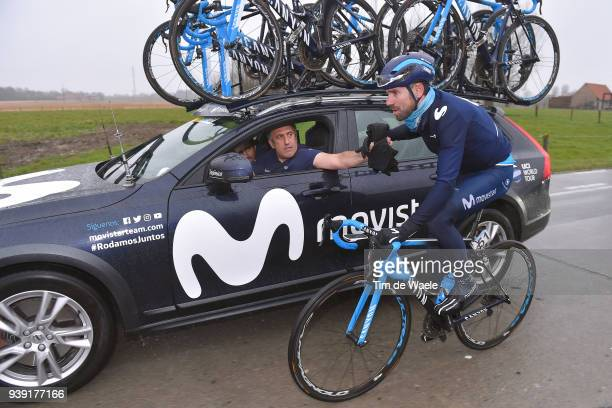 Alejandro Valverde of Spain and Movistar Team / Car / during the 73rd Dwars door Vlaanderen 2018 a 1801km race from Roeselare to Waregem on March 28...