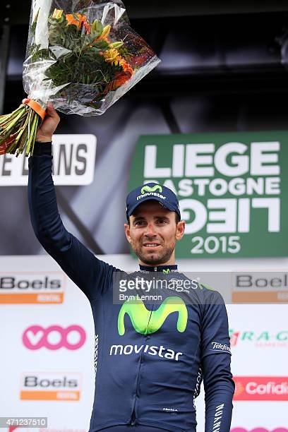 Alejandro Valverde of Spain and Movistar Team celebrates following his victory during the 101st LiegeBastogneLiege cycle road race on April 26 2015...