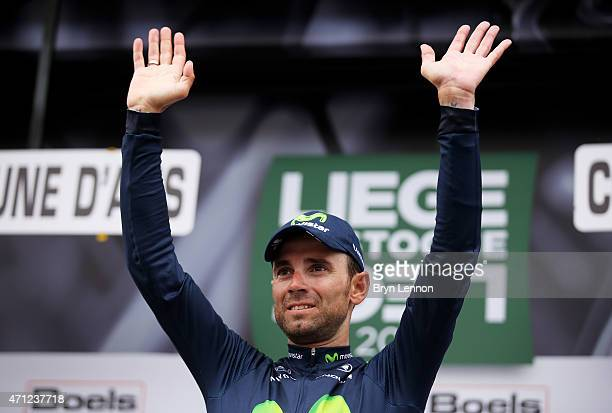 Alejandro Valverde of Spain and Movistar Team celebrates following his victory during the 101st Liege-Bastogne-Liege cycle road race on April 26,...