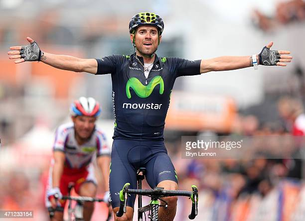 Alejandro Valverde of Spain and Movistar Team celebrates his victory as he crosses the finish line during the 101st Liege-Bastogne-Liege cycle road...