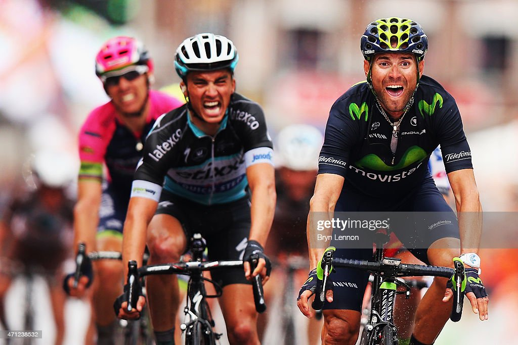Alejandro Valverde of Spain and Movistar Team celebrates his victory as he crosses the finish line ahead of Julian Alaphilippe of France and Etixx - Quick Step during the 101st Liege-Bastogne-Liege cycle race on April 26, 2015 in Liege, Belgium. (Photo by Bryn Lennon/Getty Images).