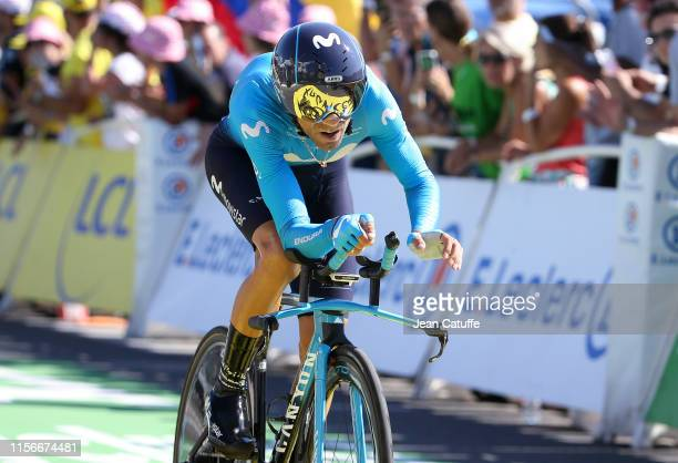 Alejandro Valverde of Spain and Movistar Team crosses the finish line during stage 13 of the 106th Tour de France 2019, an individual time trial...