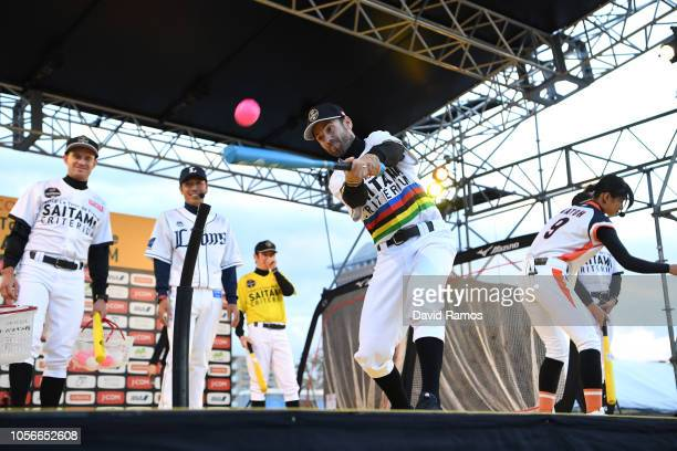 Alejandro Valverde of Spain and Movistar Team developing his skills in baseball during the 6th Tour de France Saitama Criterium 2018 Media Day /...