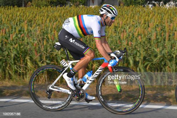 Alejandro Valverde of Spain and Movistar Team / during the 112th Il Lombardia 2018 a 241km race from Bergamo to Como / IL / on October 13 2018 in...