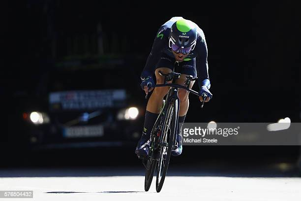 Alejandro Valverde of Spain and Movistar Team during the 37km Individual Time Trial stage thirteen of Le Tour de France from BourgSaintAndeol to La...