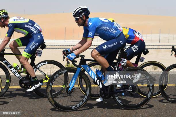 Alejandro Valverde of Spain and Movistar Team during the 3rd UAE Tour 2021, Stage 1 a 176km stage from Al Dhafra Castle to Al Mirfa / #UAETour / on...