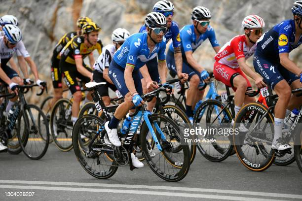 Alejandro Valverde of Spain and Movistar Team during the 3rd UAE Tour 2021, Stage 5 a 170km stage from Fujairah Marine Club to Jebel Jaison 1489m /...