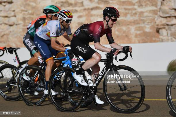 Alejandro Valverde of Spain and Movistar Team / Edward Dunbar of Ireland and Team INEOS / during the 6th UAE Tour 2020 Stage 5 a 162km stage from Al...
