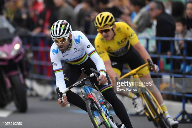 Alejandro Valverde of Spain and Movistar Team / Geraint Thomas of Great Britain and Team Sky Yellow Leader Jersey / during the 6th Tour de France...