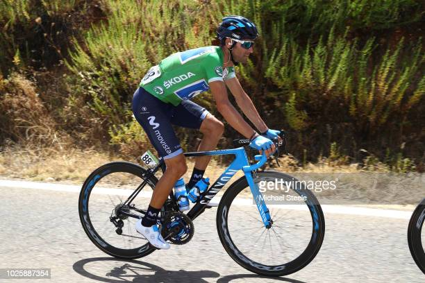 Alejandro Valverde of Spain and Movistar Team Green Points Jersey / Celebration / Champagne / during the 73rd Tour of Spain 2018 / Stage 8 a 1951km...