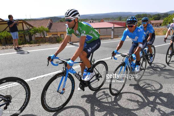 Alejandro Valverde of Spain and Movistar Team Green Points Jersey / Nairo Quintana of Colombia and Movistar Team / during the 73rd Tour of Spain...