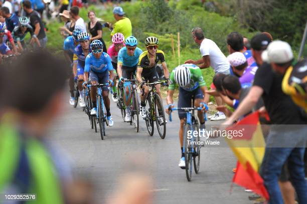 Alejandro Valverde of Spain and Movistar Team Green Points Jersey / Simon Yates of Great Britain and Team Mitchelton-Scott / Nairo Quintana of...