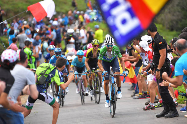 3f6684fb3 Alejandro Valverde of Spain and Movistar Team Green Points Jersey   Simon  Yates of Great Britain