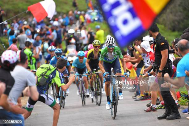 Alejandro Valverde of Spain and Movistar Team Green Points Jersey / Simon Yates of Great Britain and Team MitcheltonScott / Nairo Quintana of...