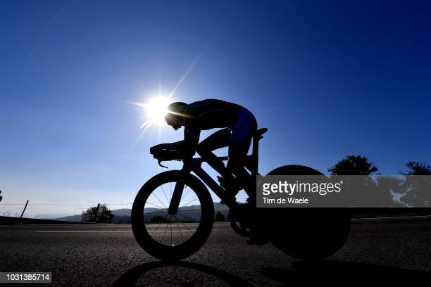 Alejandro Valverde of Spain and Movistar Team Green Points Jersey / Silhouette / during the 73rd Tour of Spain 2018 Stage 16 a 32km Individual Time...