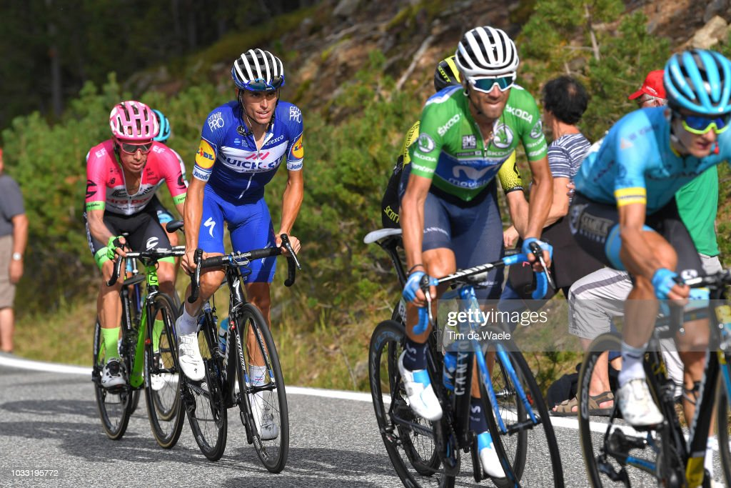9bdc8653a Alejandro Valverde of Spain and Movistar Team Green Points Jersey ...