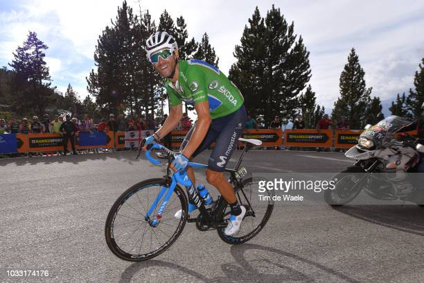 Alejandro Valverde of Spain and Movistar Team Green Sprint Jersey / during the 73rd Tour of Spain 2018 Stage 19 a 1544km stage from Lleida to...