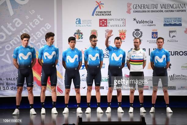 Alejandro Valverde of Spain and Movistar Team / Hector Carretero of Spain and Movistar Team / Rubén Fernandez Andujar of Spain and Movistar Team /...