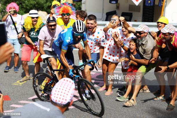 Alejandro Valverde of Spain and Movistar Team in the Breakaway during the 108th Tour de France 2021, Stage 15 a 191,3km stage from Céret to...