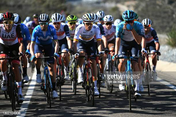 Alejandro Valverde of Spain and Movistar Team, Javier Romo Oliver of Spain & Luis Leon Sanchez of Spain and Team Astana - Premier Tech during the...