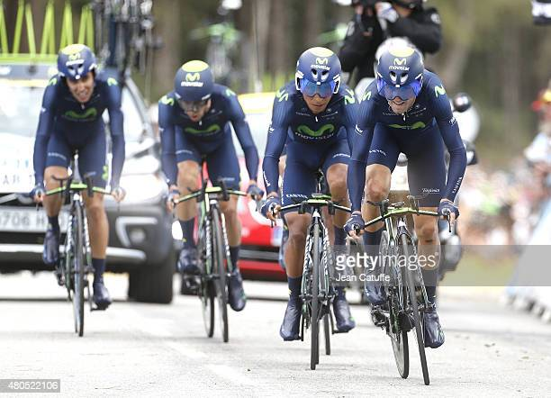 Alejandro Valverde of Spain and Movistar Team leads Nairo Quintana of Colombia and his teammates during stage nine of the 2015 Tour de France a 28 km...