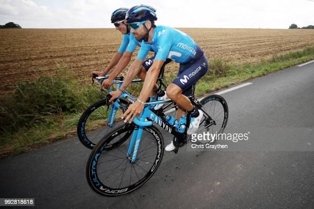 Alejandro Valverde of Spain and Movistar Team / Marc Soler of Spain and Movistar Team / during the 105th Tour de France 2018 Training / TDF / on July...