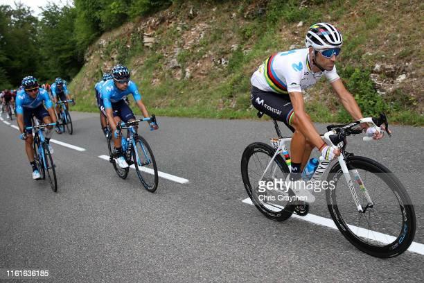 Alejandro Valverde of Spain and Movistar Team / Mikel Landa of Spain and Movistar Team / Carlos Verona of Spain and Movistar Team / during the 106th...