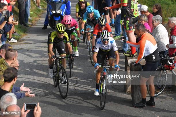 Alejandro Valverde of Spain and Movistar Team / Mikel Nieve Iturralde of Spain and Team Mitchelton - Scott / Ion Izagirre Insausti of Spain and Team...