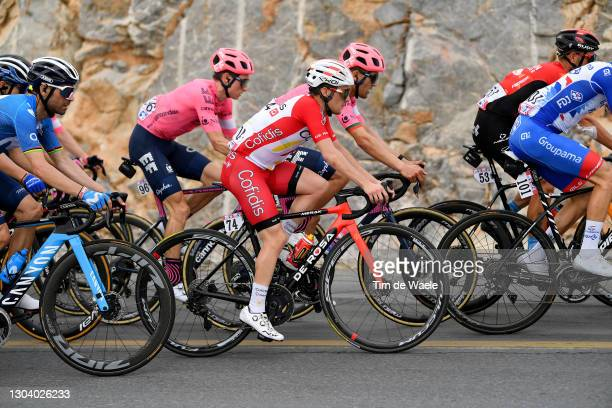 Alejandro Valverde of Spain and Movistar Team, Neilson Powless of United States and Team EF Education-Nippo, Remy Rochas of France and Team Cofidis,...