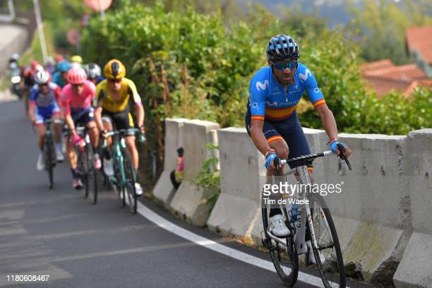 Alejandro Valverde of Spain and Movistar Team / Primoz Roglic of Slovenia and Team Jumbo-Visma / during the 113th Il Lombardia 2019 a 243km race from...