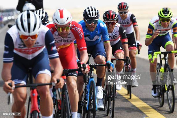 Alejandro Valverde of Spain and Movistar Team & Rafal Majka of Poland and UAE Team Emirates during the 3rd UAE Tour 2021, Stage 1 a 176km stage from...