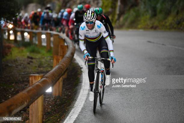 Alejandro Valverde of Spain and Movistar Team World Champion Jersey / Rain / during the 28th Mallorca Challenge 2019 - Trofeo Serra de Tramuntana, a...