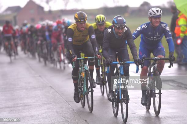 Alejandro Valverde of Spain and Movistar Team / Yves Lampaert of Belgium and Team Quick-Step Floors / during the 73rd Dwars door Vlaanderen 2018 a...